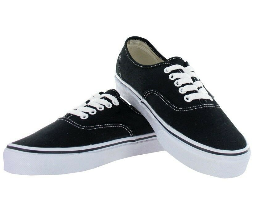 Vans Authentic Black & White Mens Womens Canvas Shoes Sneakers Sizes