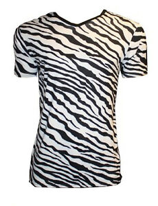 a97e037ad5a09 MEN'S ZEBRA ANIMAL PRINT T-SHIRT TOP FANCY DRESS COSTUME GOTH PUNK ...