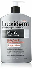 Lubriderm Mens 3-in-1 Lotion Body, Face & Post-Shave Lotion Unscented 16 Oz