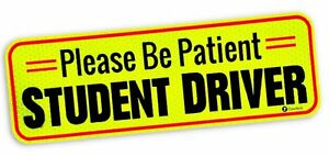 Zone-Tech-Car-Bumper-Magnet-Please-Be-Patient-Student-Driver-Reflective-Decal