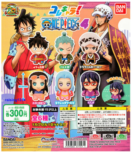 Bandai One Piece Anime Collechara Figure 4 Luffy Zoro Law Robin Vivi set 6 pcs
