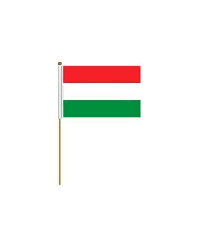 """HUNGARY PLAIN 12/"""" X 18/"""" INCH COUNTRY FLAG BANNER ON 2 FOOT WOODEN STICK . NEW"""