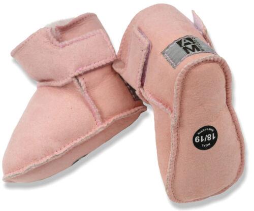 AM artmoda Lammfell Babystiefel Puschen Baby Girl rosa mit Klettverschluss