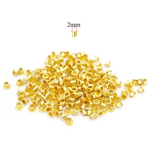 100pcs Gold Messing Ösen Ösen Für DIY Schuhe Lederwaren Beutel Bekleidung 2mm