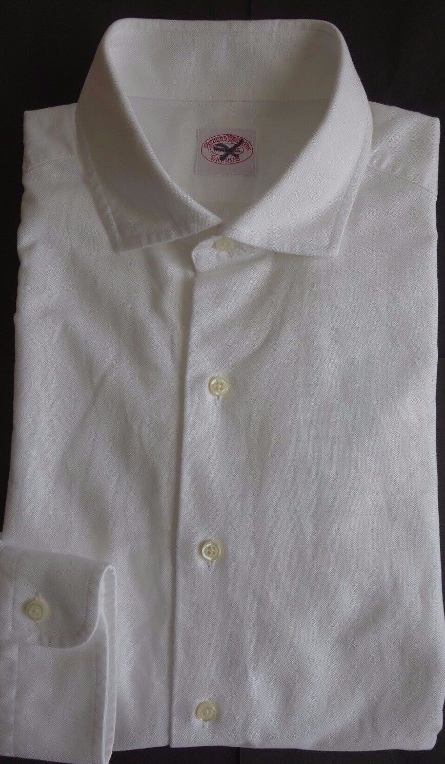 NWT Brooks Bredhers White Oxford Cloth Spread Collar Shirt 15.5-36 MSRP