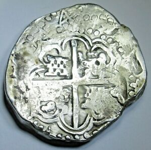 1644-Spanish-Bolivia-Silver-8-Reales-Antique-1600-039-s-Old-Colonial-Dollar-Cob-Coin
