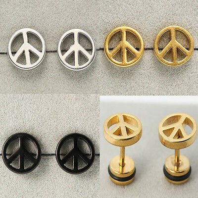 Round Peace Sign Stainless Steel Studs Earrings Punk Fashion Jewel Men Women CA
