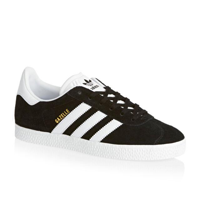 adidas Gazelle Kid's Shoes - Core Black/Footwear White/Gold Metallic, UK 4