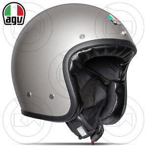 CASCO JET AGV X70 X-70 E2205 MONO GRIGIO OPACO LEGENDS MOTO VINTAGE IN FIBRA