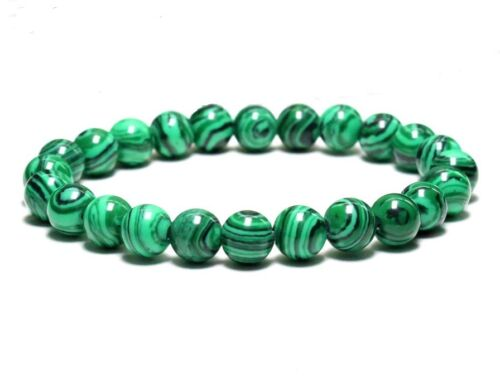 MEN'S MALACHITE Natural Gemstone Beads Handcrafted Jewelry Stretch Bracelet