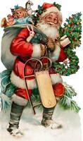 Antique Santa With Toys Christmas Vintage Old World Quilting Fabric Block 5x7