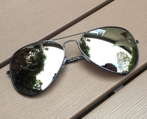 Large Silver Mirror Lens Gold Silver or Black Metal Aviator Big Sunglasses 5300