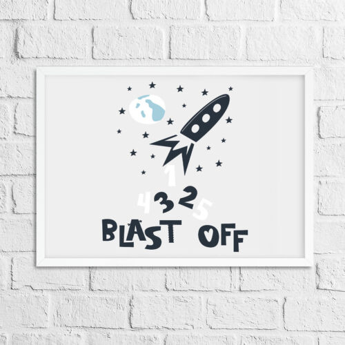 "Chambre à Coucher Mural Art Garçons Rocket Imprimer photo/"" 5 4 3 2 1 Blast Off /""Kids decor"