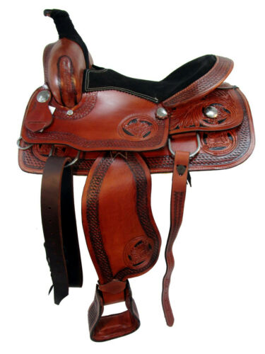 15 16 USED WESTERN SADDLE ROPING ROPER RANCH PLEASURE TRAIL TOOLED LEATHER TACK