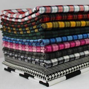 Tartan-Check-Houndstooth-Plaid-Twill-100-Cotton-Fabric