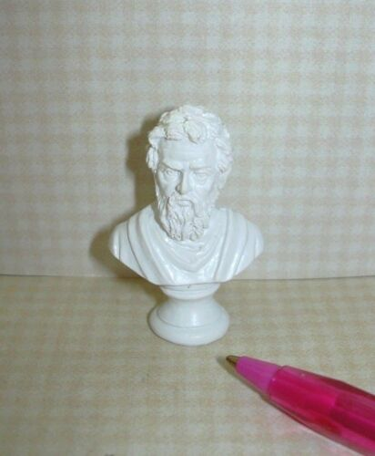 Miniature White Resin Bust of Michelangelo DOLLHOUSE Miniatures 1:12