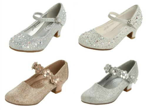 GIRLS DIAMANTE LOW HEEL FLOWER BRIDESMAID WEDDING PARTY MARY JANE SHOES SIZE