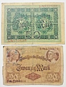 1908 Germany Kaiser WW1 Set of 2 100 Gold Mark Banknotes RED GREEN