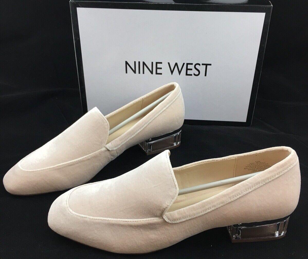 Nine West  Umissit Velvet Loafer Acrylic Heel Oatmeal Size 10 M