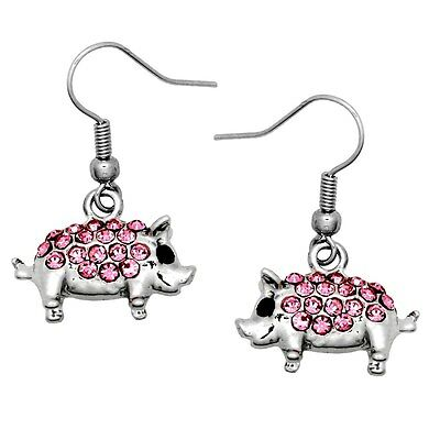 LOOK Cute Silver Pig Piglet Earrings Gold Plated Jewelry