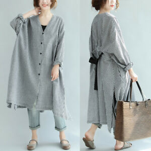 Women's Buttons Down Shirt Dress Oversize Batwing Casual Plaid Check Midi Dress