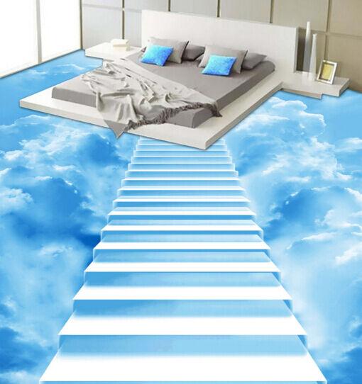 3D Sun Cloud Ladder 804 Floor Wall Paper Murals Wall Print AJ WALLPAPER UK Lemon