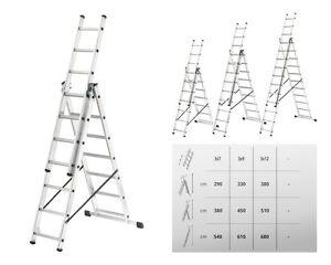 Hailo-Alu-Kombileiter-3x6-3x9-3x11-Sprossen-L540-L610-L680-Mehrzweckleiter-NEU