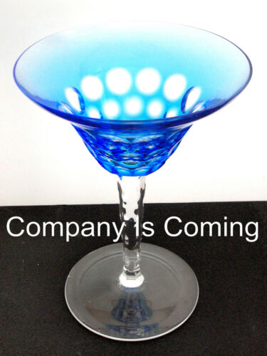 1 Waterford simply BLUE AZURE cased cut to clear crystal martini cocktail