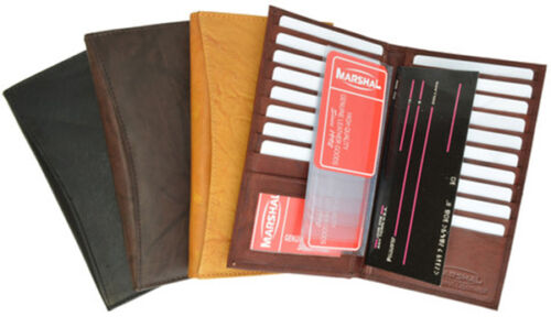 Brown Genuine Leather 19 Slots Credit Card Holder Tall Wallet ID Window Men New