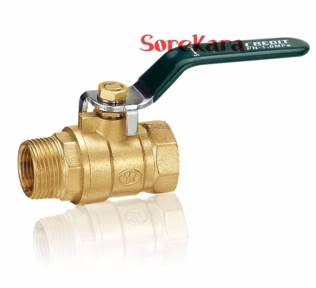 """Brass Ball Valve Bore 1/4""""-3/4"""" BSP female-male with green handle"""