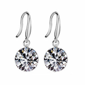 925-Silver-Plated-Earrings-Sexy-Crystal-Gift-Fashion-Women-Party-Stud-Gem-Ear