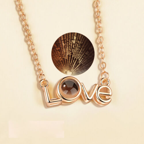 Or Rose Argent 100 langues Light I Love You projection Collier Pendentif Cadeau