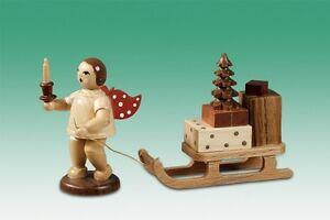 Angelo-legno-di-Natale-con-Slitta-corona-NATURA-altezza-6-5-cm-NUOVO