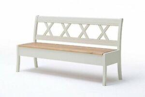 Details zu Sitzbank mit Lehne 180cm Küchen Bank rückenlehne Holz Kiefer  creme Wildeiche