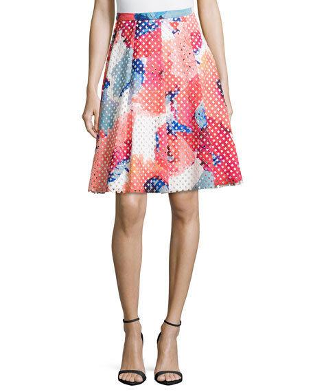 TRINA TURK Millan Poppy Floral Rainbow Perforated Twirl Full Party Skirt 4 New