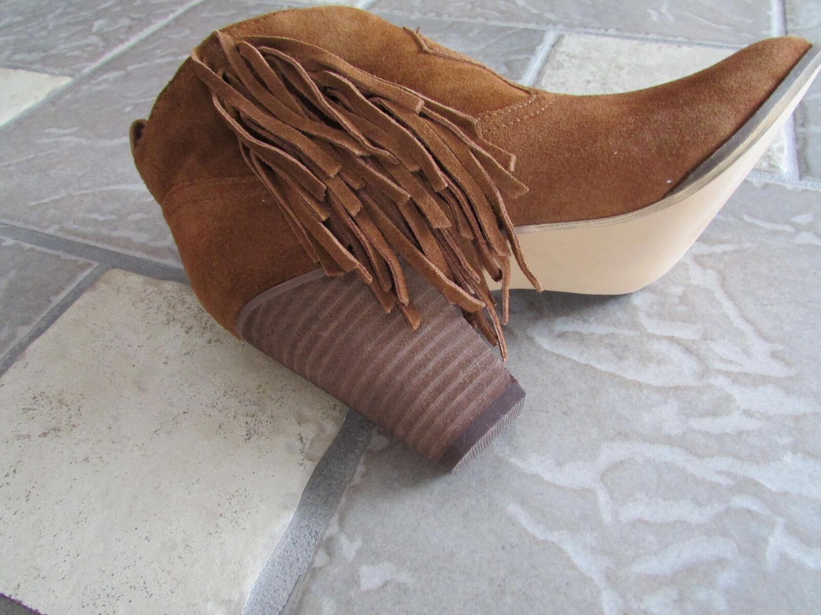 Nuevo Steve Madden Ohio Castaño Gamuza botas al mujer tobillo para mujer al 10 con flecos fc8b27