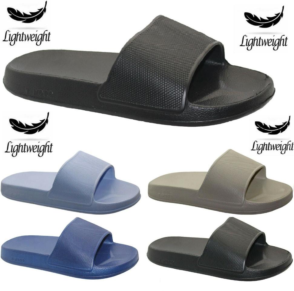 New Mens Lightweight Sliders Summer Pool Beach Flip Flops Shower Boys Shoes Size