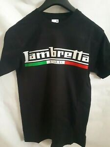 """T-SHIRT /""""LAMBRETTA ITALIA/"""" TAGLIA S-M-L NERO MAGLIETTA"""