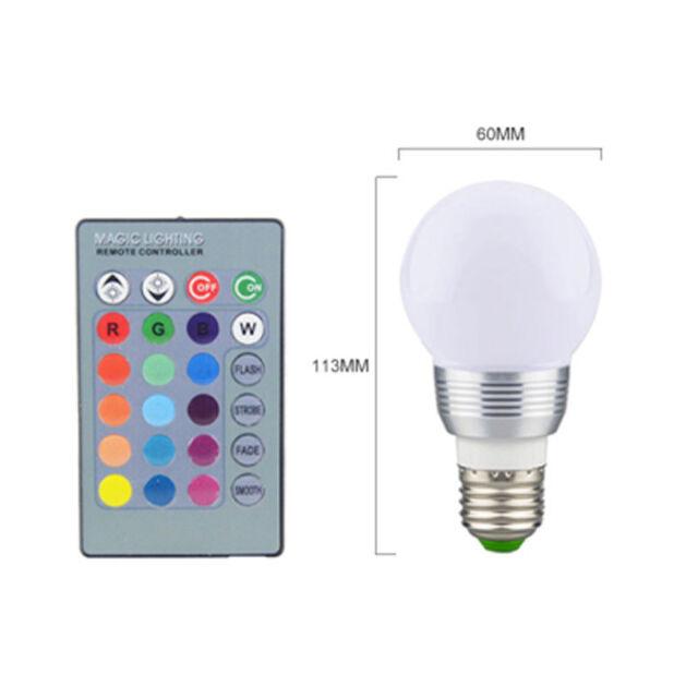 E27 RGB Magic 3 Watt Colorful LED Light 16 Color Changing Lamp Bulb Remote  Control
