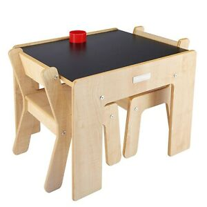 Little-Helper-Childrens-Kids-Table-amp-Chairs-Set-for-2-Chalkboard-Top