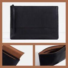Zara Black Leather Clutch With Fold Over Flap BNWT