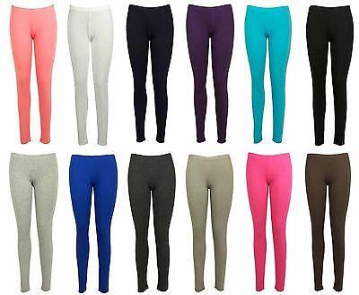 Aus Dem Ausland Importiert Ladies Women Viscose Plain Elasticated Waist Stretchy Soft Full Length Leggings