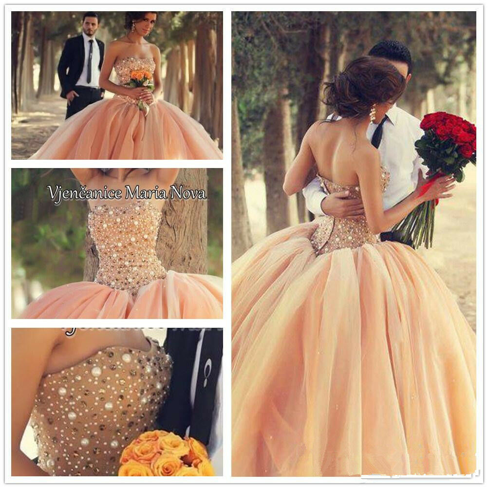 Beaded Formal Prom Ball Party Pageant Quinceanera Dress Ball Gown Wedding Dress