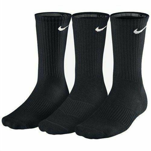 Nike Men's Cotton Cushion Crew Socks XL, Black, 3-Pair