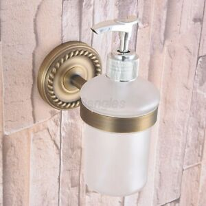 Antique Brass Soap Dispenser Wall Mounted Frosted Glass Bathroom Accessories Ebay
