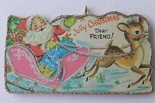 Santa in Pink Sleigh  * Christmas Ornament * Vintage Card Image * Glitter