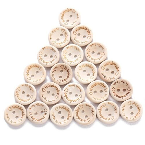 100Pcs 2 Holes Wooden Buttons Handmade Love  Scrapbooking Sewing Accessories .