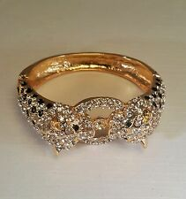 Kenneth Jay Lane Ravishing Cougar 22K Gold Plated Bangle