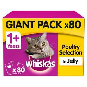 80 x 100g Whiskas 1+ Adult Wet Cat Food Pouches Mixed Poultry Jelly