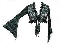 Dark Star Plus Size Gothic Black And Green Lace Floral Shrug L Xl 1x 2x